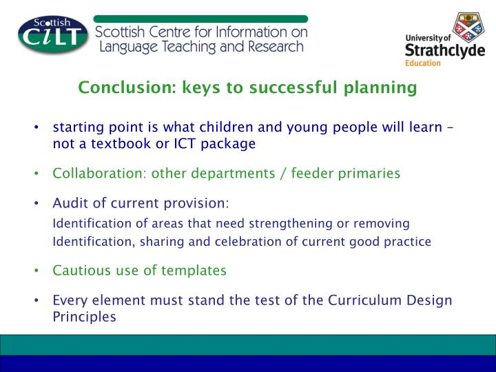 Conclusion: keys to successful planning