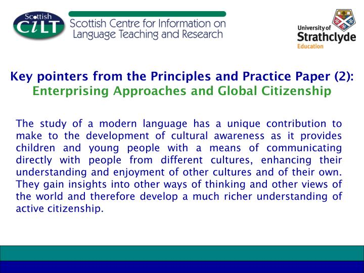 Key pointers from the Principles and Practice Paper (2):