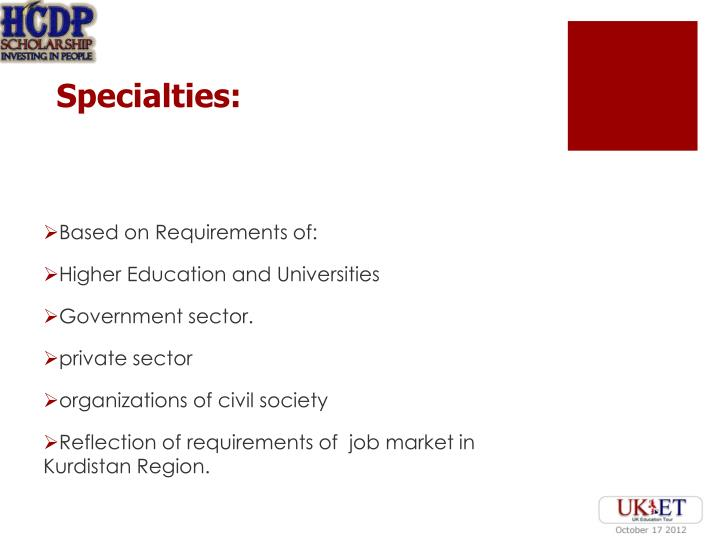 Specialties: