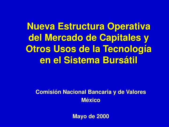 Nueva Estructura Operativa del Mercado de Capitales y Otros Usos de la Tecnología en el Sistema Bursátil