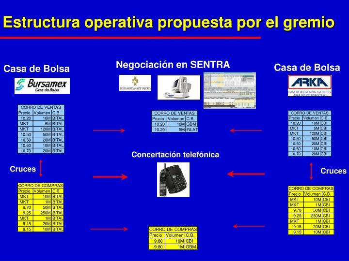Estructura operativa propuesta por el gremio