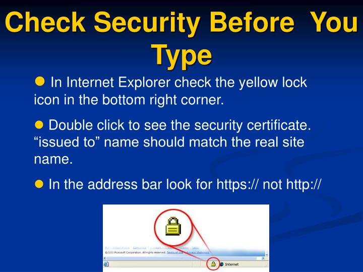 Check Security Before  You Type