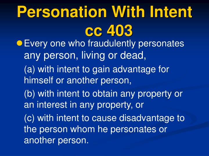 Personation With Intent