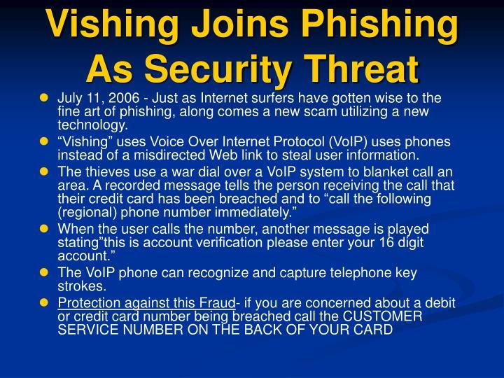 Vishing Joins Phishing