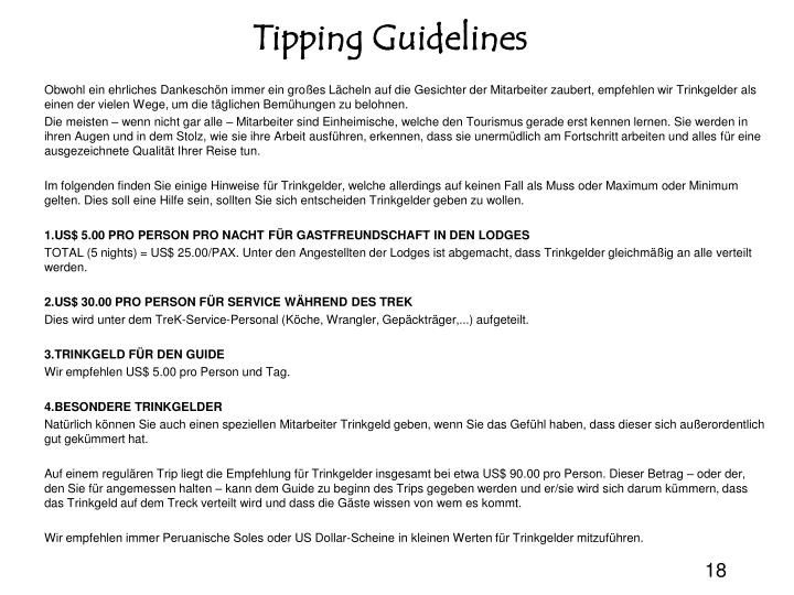 Tipping Guidelines
