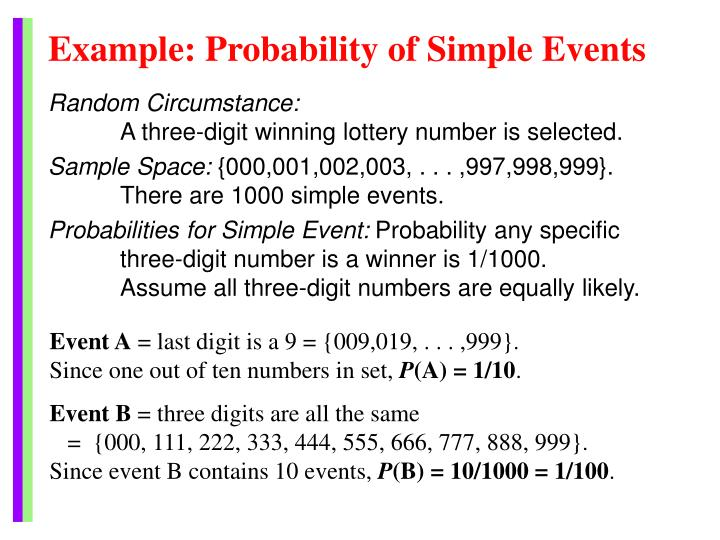 Example: Probability of Simple Events