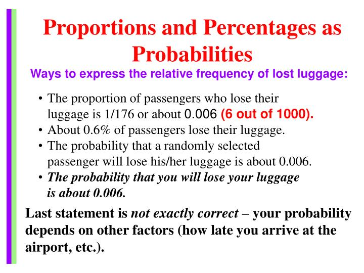 Proportions and Percentages as Probabilities