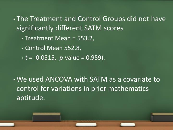 The Treatment and Control Groups did not have significantly different SATM scores