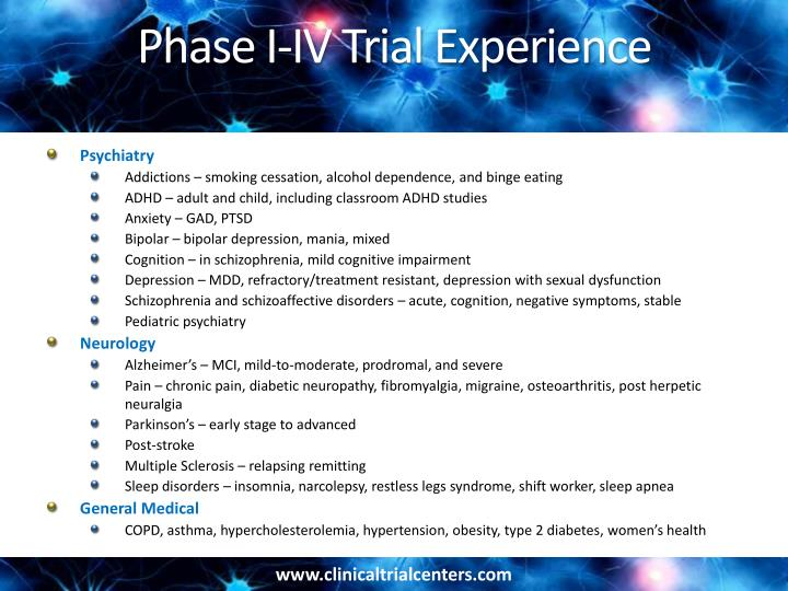 Phase I-IV Trial Experience