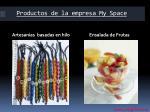 productos de la empresa my space