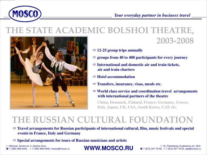 THE STATE ACADEMIC BOLSHOI THEATRE,