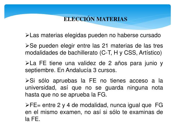 ELECCIÓN MATERIAS