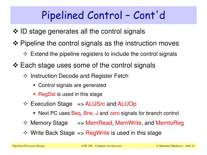 Pipelined Control – Cont'd