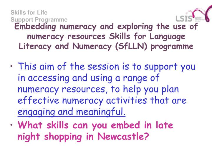 support literacy and numeracy activities Support literacy and numeracy activities k8 the strategies and resources used at your school for developing pupils': a reading skills b writing skills c speaking.