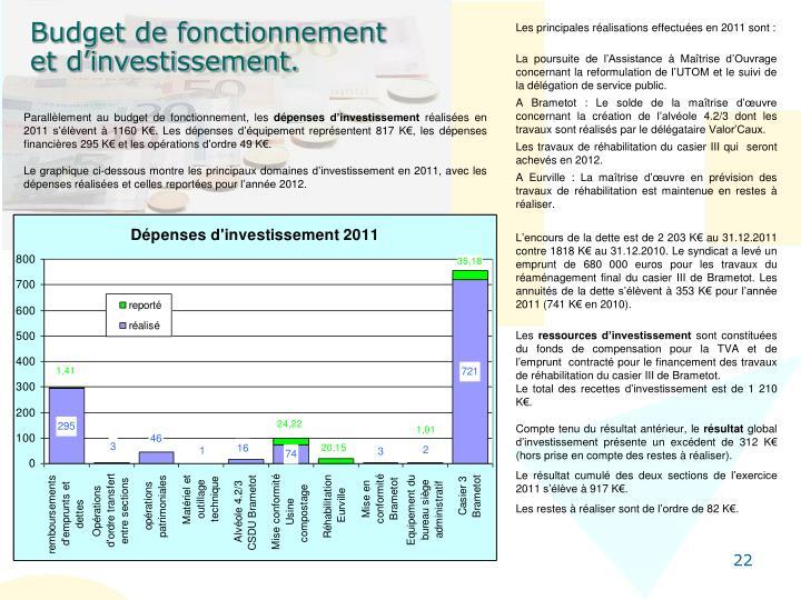 Les principales réalisations effectuées en 2011 sont :