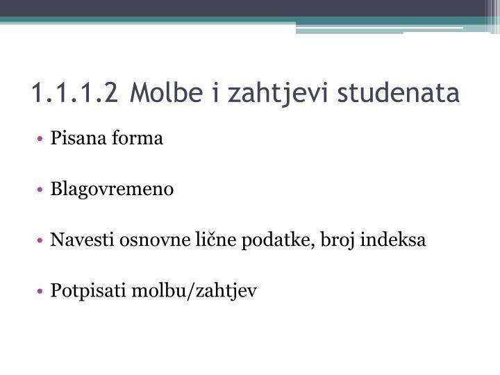 1.1.1.2Molbe i zahtjevi studenata