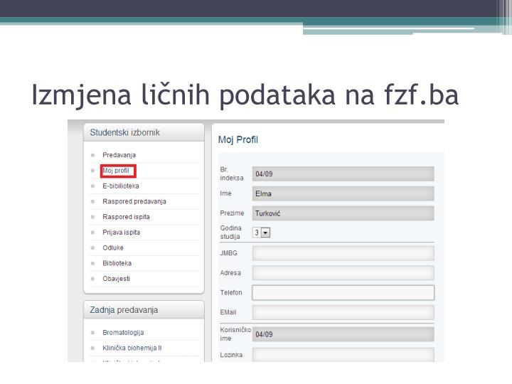 Izmjena ličnih podataka na fzf.ba
