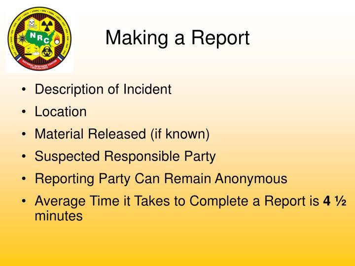 Description of Incident