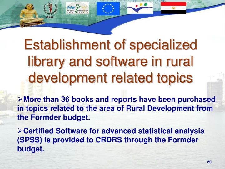 Establishment of specialized library and software in rural development related topics
