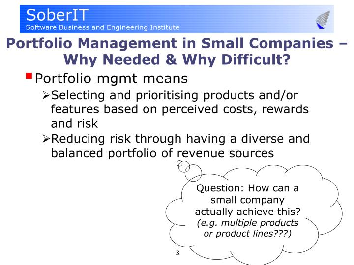 Portfolio management in small companies why needed why difficult