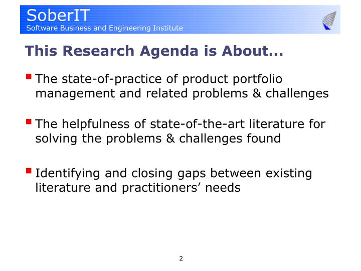 This research agenda is about