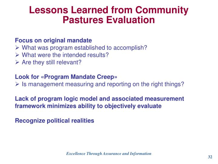 Lessons Learned from Community Pastures Evaluation