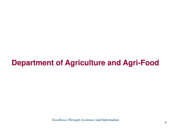 Department of Agriculture and Agri-Food