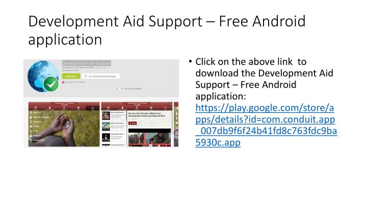Development aid support free android application