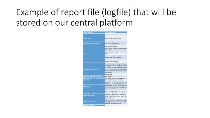 Example of report file (logfile) that will be stored on our central platform