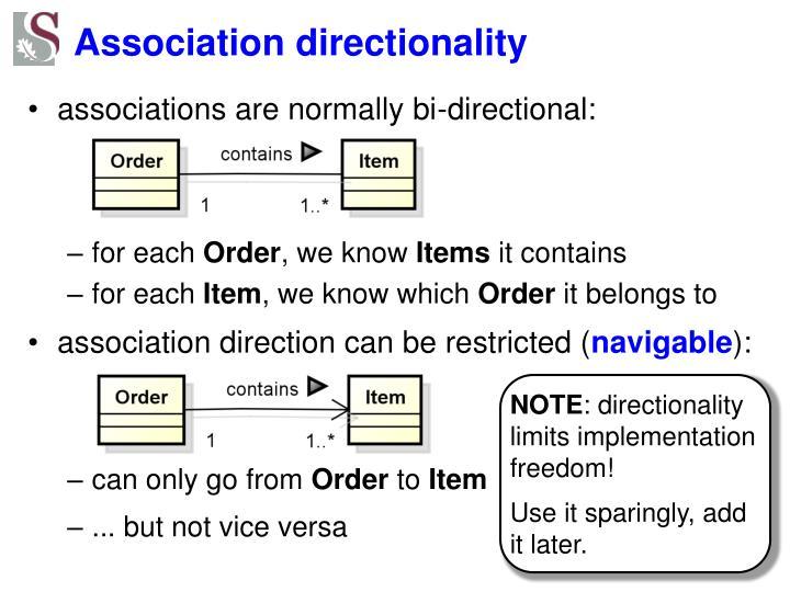 Association directionality