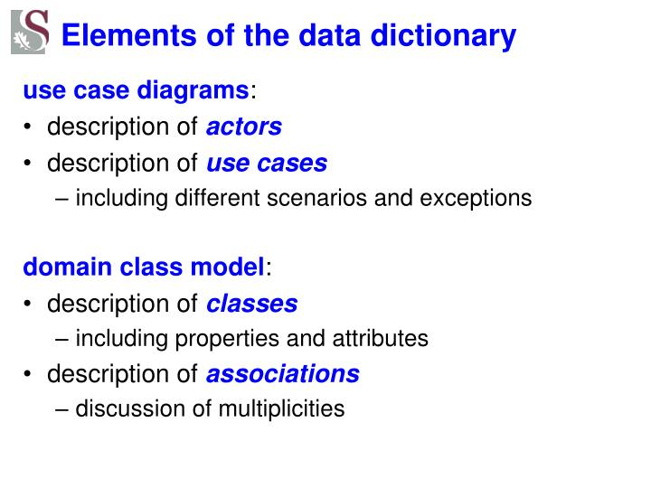 Elements of the data dictionary