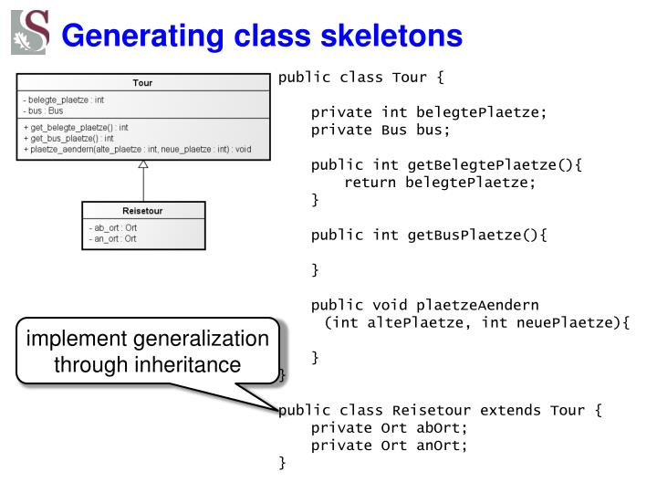 Generating class skeletons