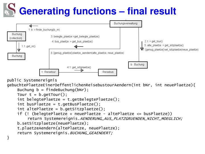 Generating functions – final result