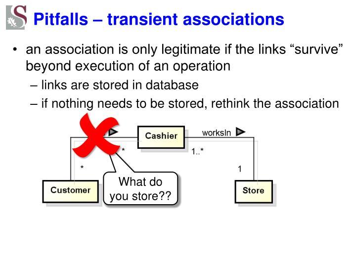 Pitfalls – transient associations