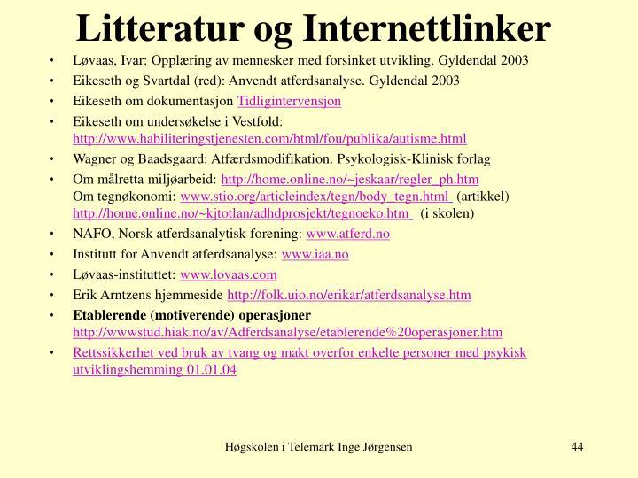 Litteratur og Internettlinker