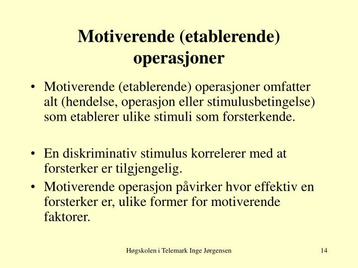 Motiverende (etablerende) operasjoner