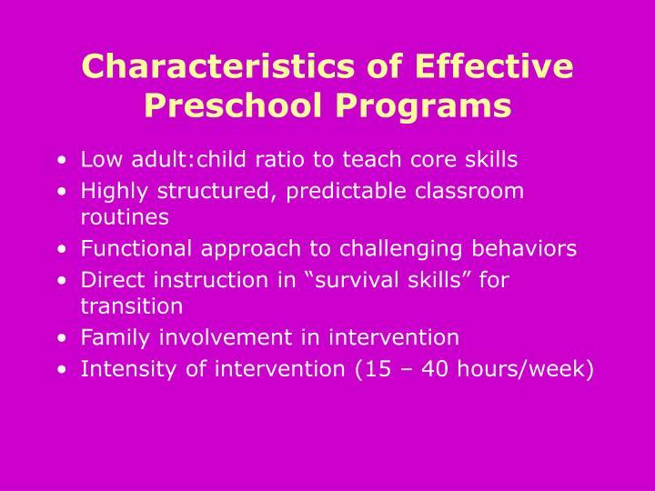 Characteristics of Effective Preschool Programs