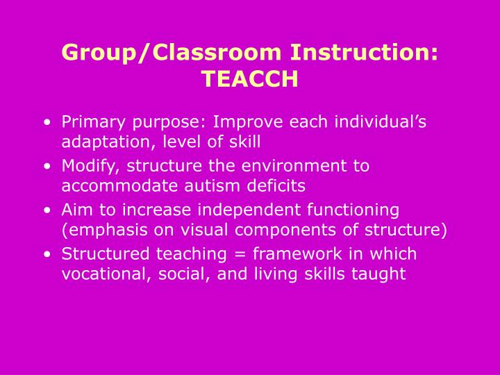 Group/Classroom Instruction: TEACCH