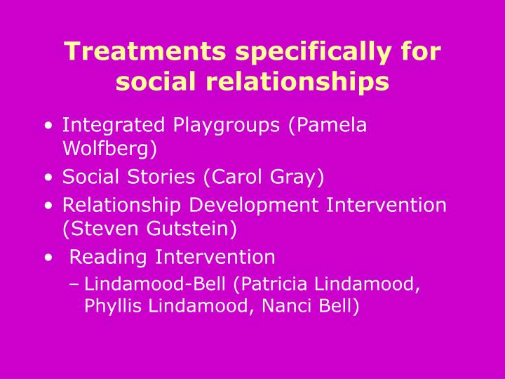 Treatments specifically for social relationships