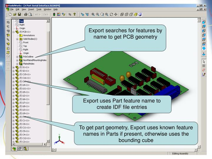 Export searches for features by name to get PCB geometry