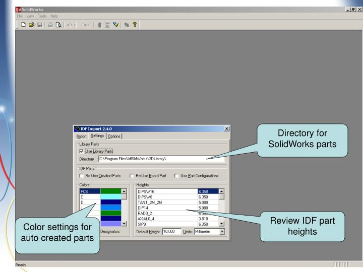 Directory for SolidWorks parts