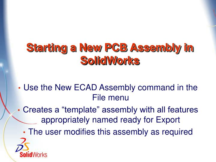 Starting a New PCB Assembly in SolidWorks