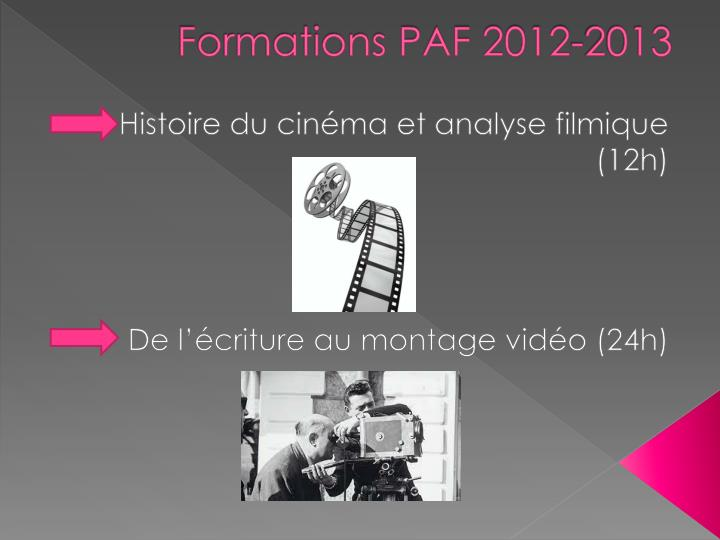 Formations PAF 2012-2013