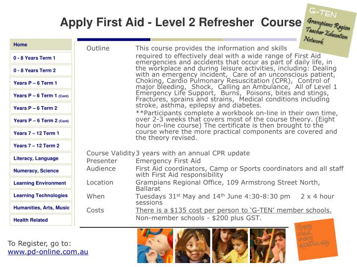 Apply First Aid - Level 2 Refresher  Course