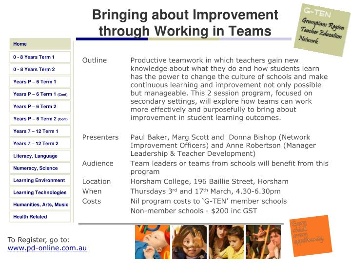 Bringing about Improvement through Working in Teams