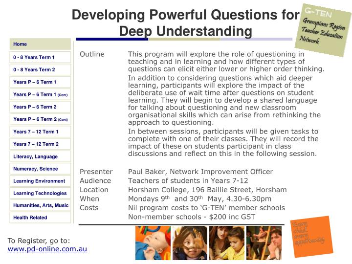 Developing Powerful Questions for Deep Understanding