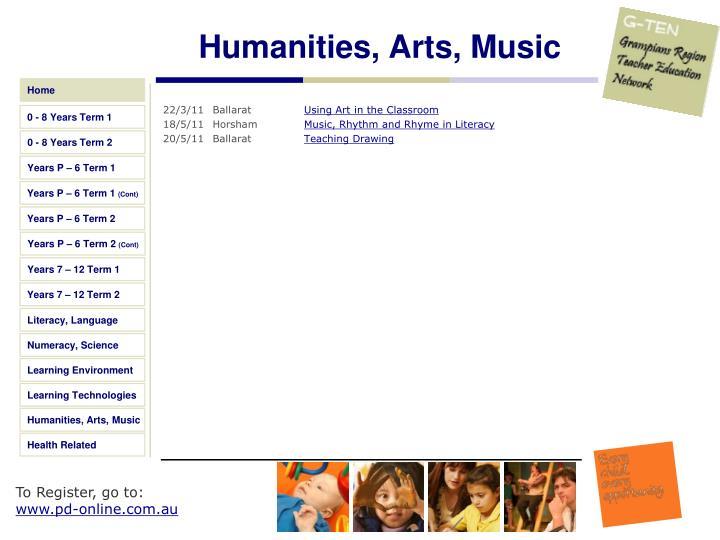 Humanities, Arts, Music