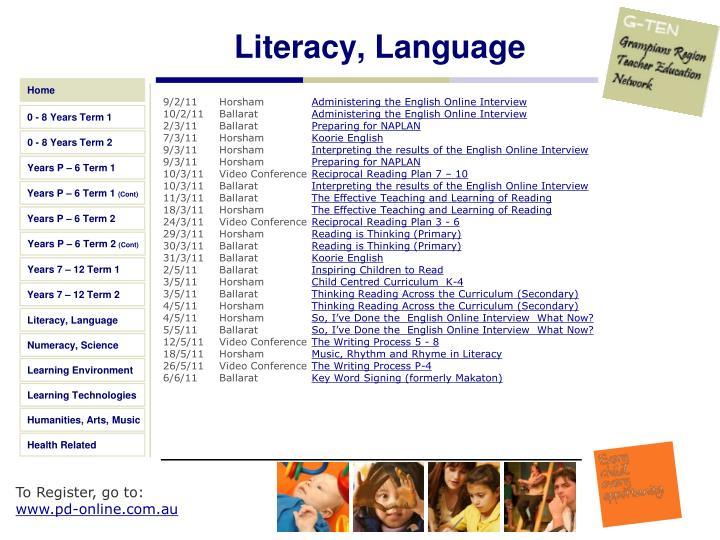 Literacy, Language