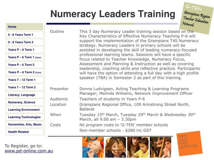 Numeracy Leaders Training