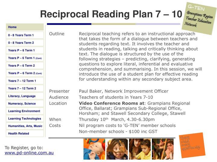 Reciprocal Reading Plan 7 – 10